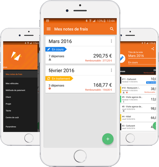 Expense report management optimized in the mobile app